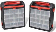 vidaXL 2X Tool Case Plastic 30x17x35cm Storage Box