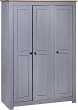 vidaXL 3-Door Wardrobe Grey 118x50x171.5 cm Pine