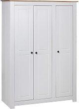 vidaXL 3-Door Wardrobe White 118x50x171.5 cm Pine