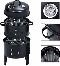 vidaXL 3-in-1 Charcoal Smoker BBQ Grill Easy to