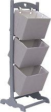 vidaXL 3-Layer Basket Rack Dark Grey 35x35x102 cm