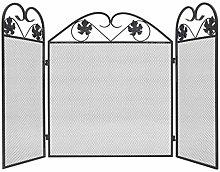 vidaXL 3-panel Fireplace Screen Iron Black