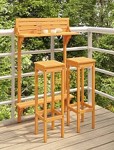 vidaXL 3 Piece Balcony Bar Set Solid Acacia Wood -
