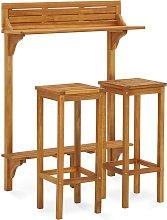 vidaXL 3 Piece Balcony Bar Set Solid Acacia Wood