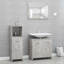 vidaXL 3 Piece Bathroom Furniture Set Concrete
