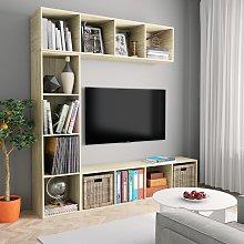 vidaXL 3 Piece Book/TV Cabinet Set  Sonoma Oak