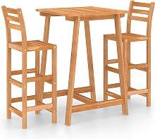 vidaXL 3 Piece Outdoor Bar Set Solid Acacia Wood