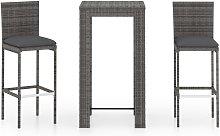 vidaXL 3 Piece Outdoor Bar Set with Cushions Poly