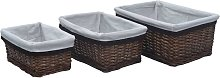 vidaXL 3 Piece Stackable Basket Set Brown Willow -