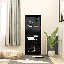 vidaXL 3-Tier Book Cabinet High Gloss Black