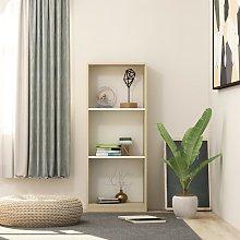 vidaXL 3-Tier Book Cabinet White and Sonoma Oak