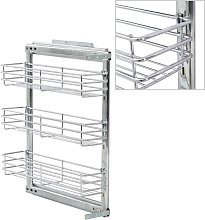 vidaXL 3-Tier Pull-out Kitchen Wire Basket Silver