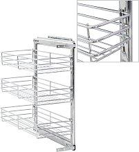 vidaXL 3-Tier Pull-out Kitchen Wire Basket Silver