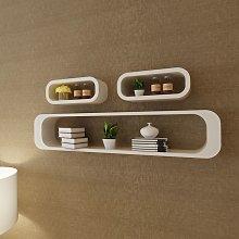 vidaXL 3 White MDF Floating Wall Display Shelf