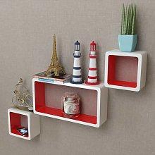 vidaXL 3 White-red MDF Floating Wall Display Shelf