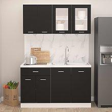 vidaXL 4 Piece Kitchen Cabinet Set Black Chipboard