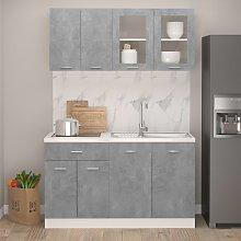 vidaXL 4 Piece Kitchen Cabinet Set Concrete Grey