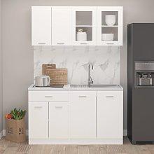 vidaXL 4 Piece Kitchen Cabinet Set White Chipboard