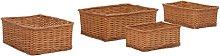 vidaXL 4 Piece Stackable Basket Set Brown Willow -
