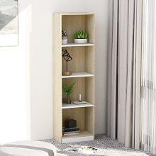 vidaXL 4-Tier Book Cabinet White and Sonoma Oak