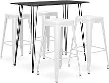 vidaXL 5 Piece Bar Set Black and White