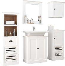 vidaXL 5 Piece Bathroom Furniture Set Solid Wood White