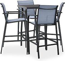 vidaXL 5 Piece Garden Bar Set Black and Grey