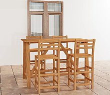 vidaXL 5 Piece Outdoor Bar Set Solid Acacia Wood -