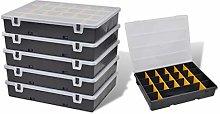 vidaXL 6x Tool Storage Box Plastic Garage Workshop