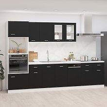 vidaXL 7 Piece Kitchen Cabinet Set Black Chipboard