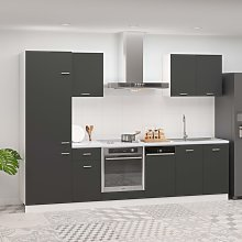 vidaXL 7 Piece Kitchen Cabinet Set Grey Chipboard