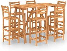 vidaXL 7 Piece Outdoor Bar Set Solid Acacia Wood -