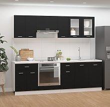 vidaXL 8 Piece Kitchen Cabinet Set Black Chipboard