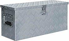 vidaXL Aluminium Box 76.5x26.5x33cm Silver Storage