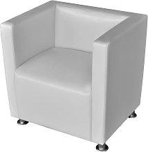 vidaXL Armchair White Faux Leather