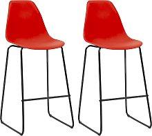 vidaXL Bar Chairs 2 pcs Red Plastic
