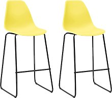 vidaXL Bar Chairs 2 pcs Yellow Plastic