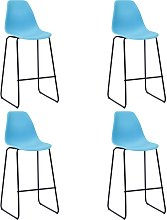 vidaXL Bar Chairs 4 pcs Blue Plastic
