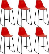 vidaXL Bar Chairs 6 pcs Red Plastic