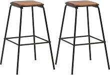 vidaXL Bar Stools 2 pcs Black Solid Pinewood and