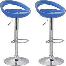 vidaXL Bar Stools 2 pcs Blue Plastic