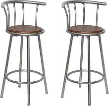 vidaXL Bar Stools 2 pcs Brown Steel
