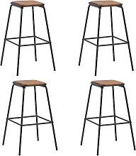 vidaXL Bar Stools 4 pcs Black Solid Pinewood and