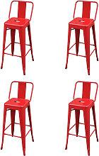 vidaXL Bar Stools 4 pcs Red Steel