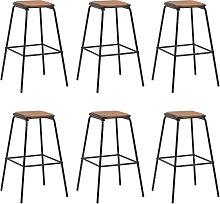 vidaXL Bar Stools 6 pcs Black Solid Pinewood and