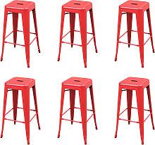vidaXL Bar Stools 6 pcs Red Steel