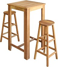 vidaXL Bar Table and Stool Set 3 Pieces Solid