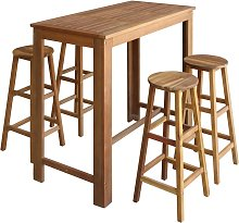 vidaXL Bar Table and Stool Set 5 Pieces Solid