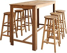 vidaXL Bar Table and Stool Set 7 Pieces Solid