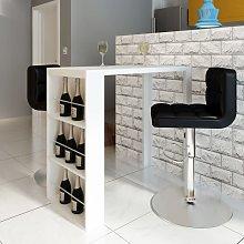 vidaXL Bar Table MDF with Wine Rack High Gloss